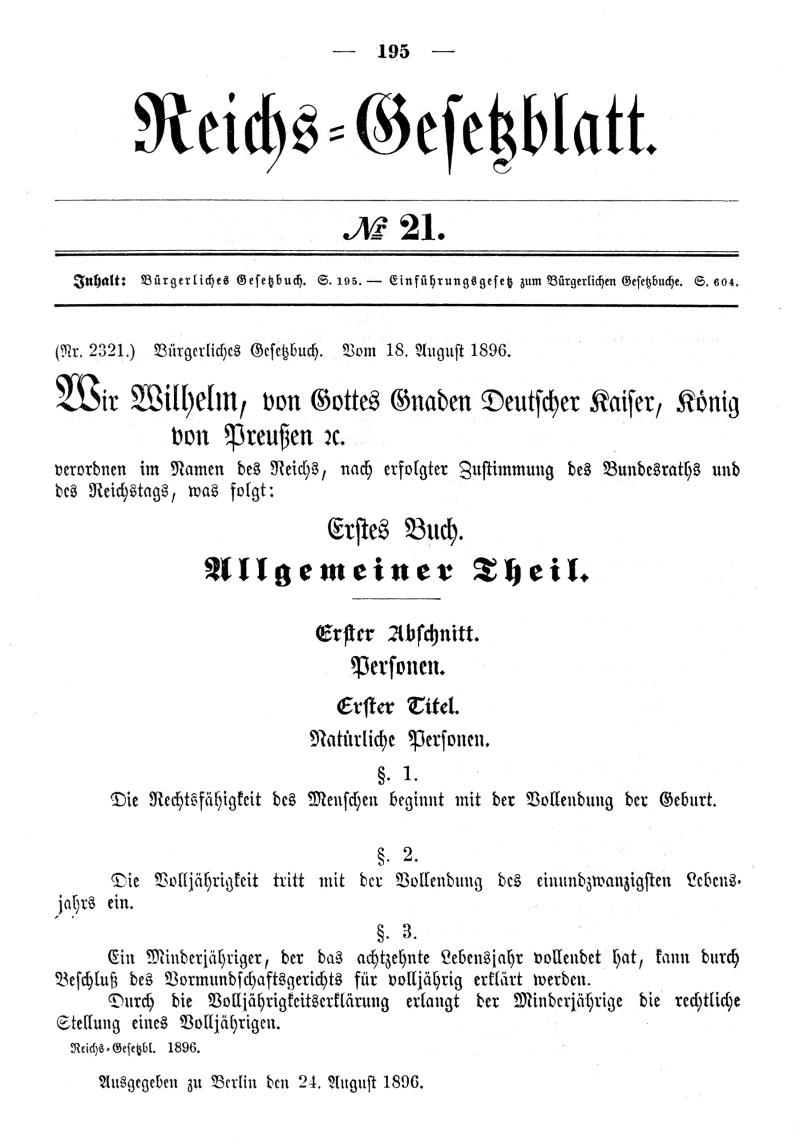 Reichsgesetzblatt 1896 Seite 195
