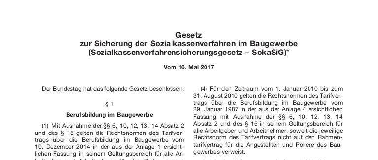 Beitragspflichten zu dem Sozialkassensystem der Bauwirtschaft – und die Verfassungsmäßigkeit des SokaSiG