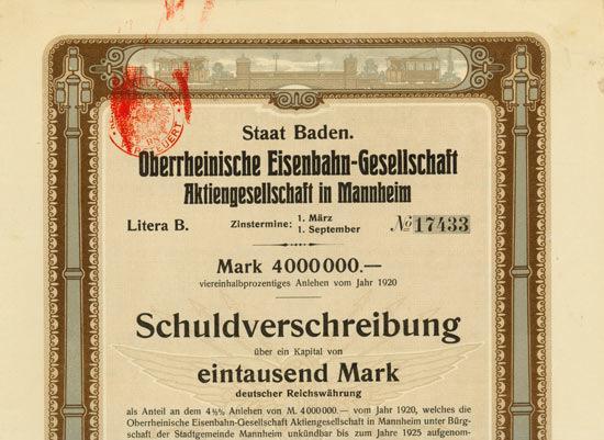 Oberrheinische Eisenbahn Gesellschaft 1000 Mk 1920